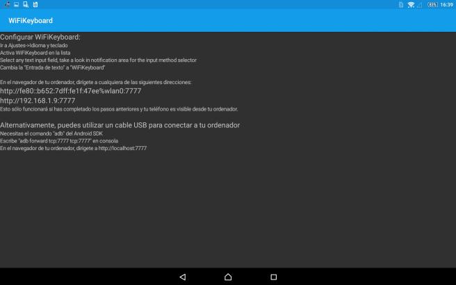 Pantalla principal de WiFi Keyboard para Android