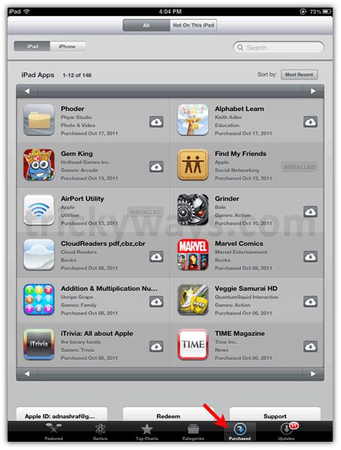 Aplicaciones compradas en iTunes