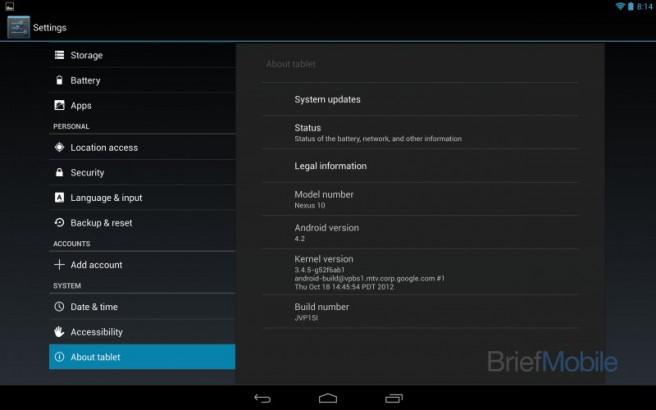 Nexus 10 pantalla de ajustes