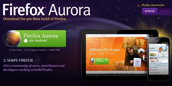 Firefox Aurora para Android
