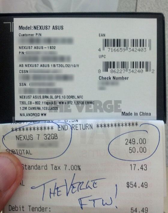 Nexus 7 32 GB 249 dólares ticket
