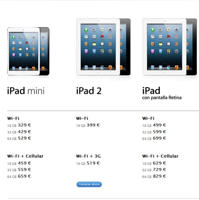 iPad mini, iPad 2, iPad 4 precios