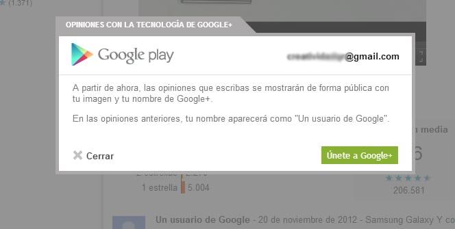 Google Play comentarios Google+