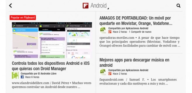 Flipboard para tablets Android