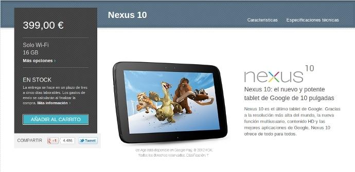 Nexus 10 a la venta