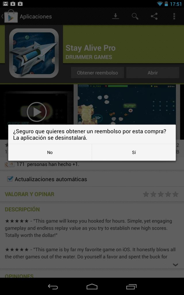 Reembolso compra Google Play