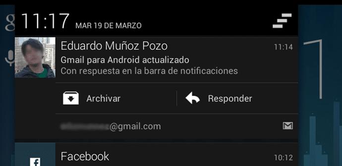 Gmail responder barra notificaciones