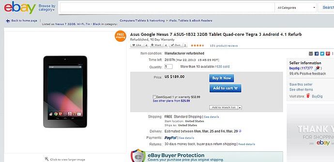 Nexus 7 restaurado