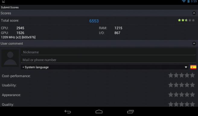 Iconia B1 Antutu benchmark