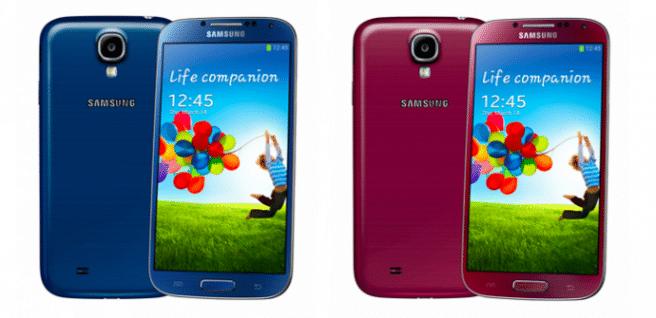 Galaxy S4 colores azul y purpura