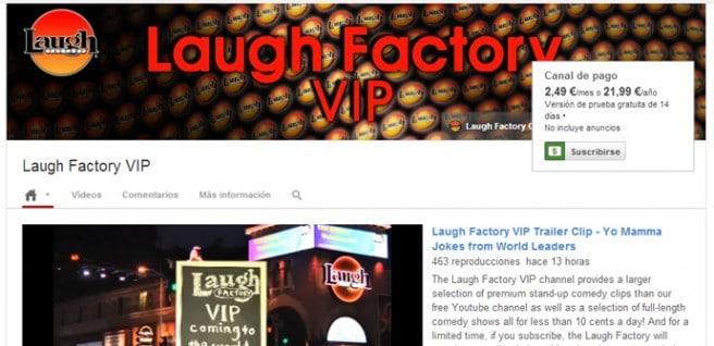 YouTube canales de pago