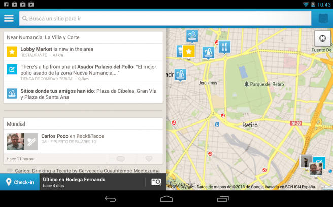 Foursquare tablet Android