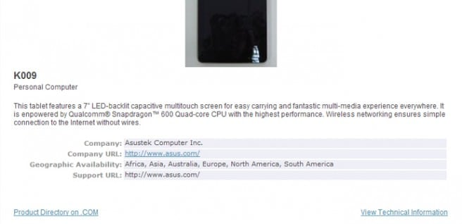 Nexus 7 II K009 Bluetooth SIG