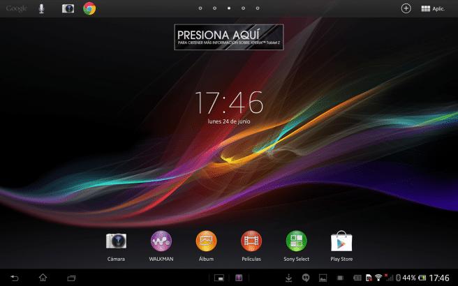 Xperia Tablet Z pantalla