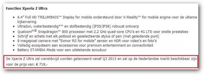 Sony Xperia Z Ultra precio