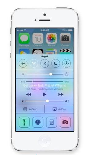 iOS7 panel de control