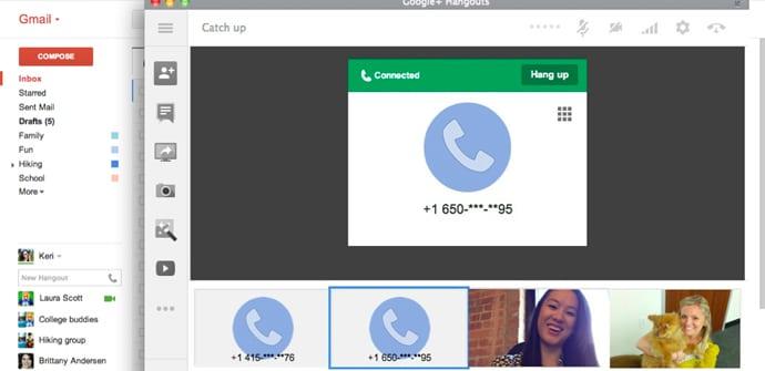 Hangouts llamadas telefono