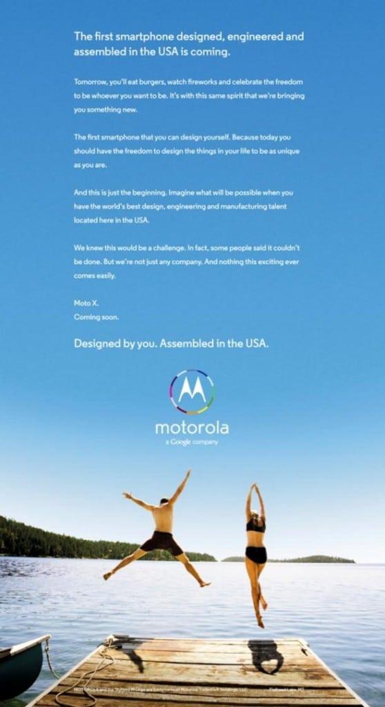 Moto X anuncio