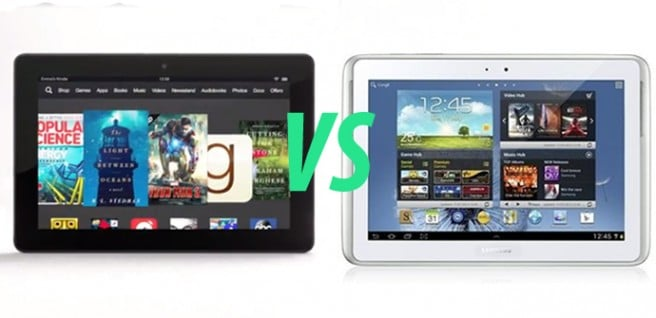 Kindle Fire HDX 89 vs Galaxy Note 101 2014 Ed