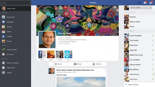 Surface Pro 2 App Facebook