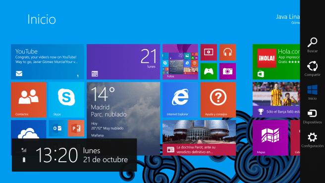 Surface 2 menu