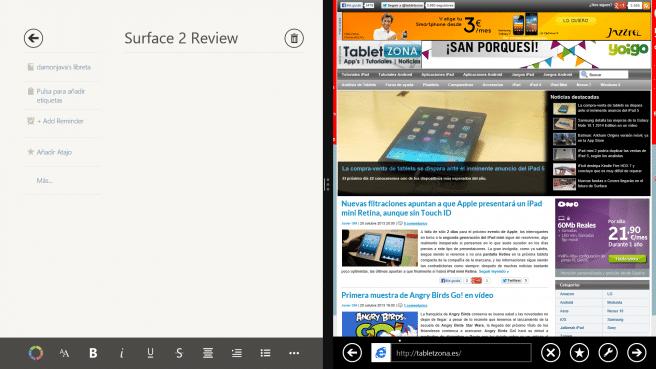 Surface 2 pantalla partida