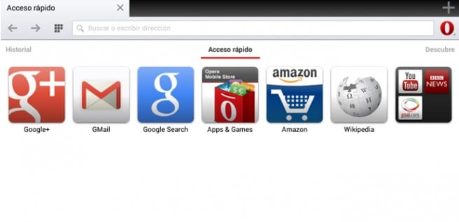 Opera para Android tablets