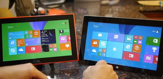 Lumia 2520 vs Surface 2 video