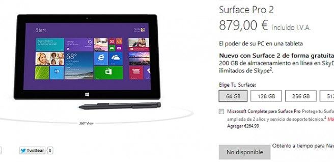 Surface Pro 2 agotada