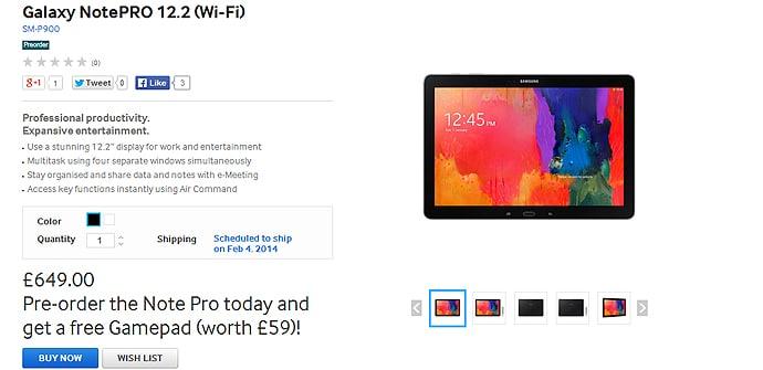 Galaxy NotePro 122 precio UK