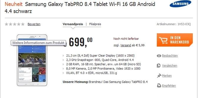 Galaxy TabPro precio timo