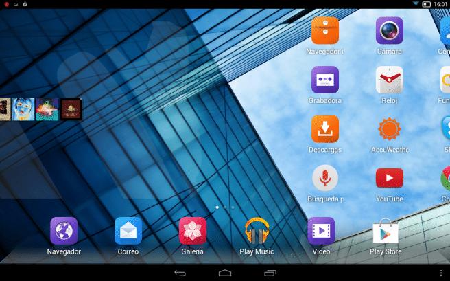 Lenovo Yoga pantalla de inicio