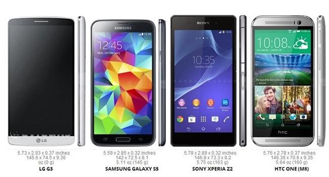 LG G3 vs Galaxy S5 vs Xperia Z2 vs HTC One M8