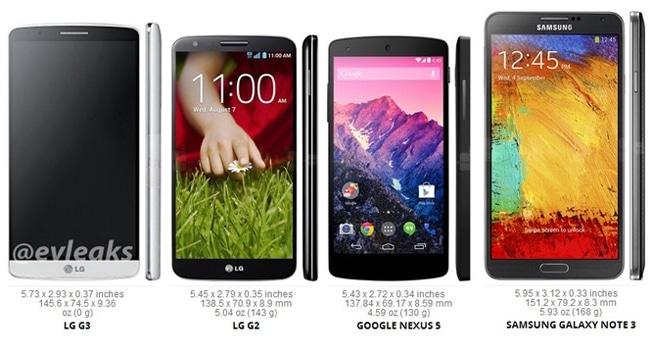 LG G3 vs LG G2 vs Nexus 5 vs Galaxy Note 3