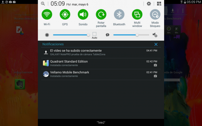 Galaxy NotePro ajustes rapidos