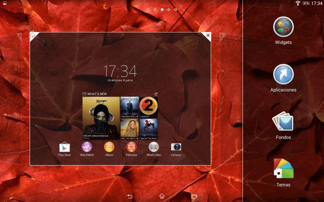Xperia Z2 Tablet menu inicio