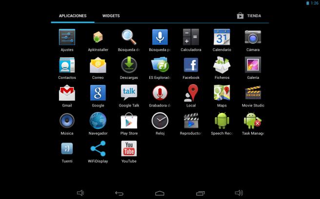 Szenio 13.3 menu aplicaciones