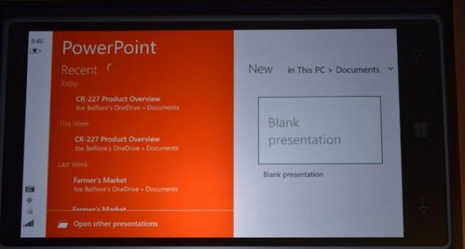 Windows 10 smartphone power point