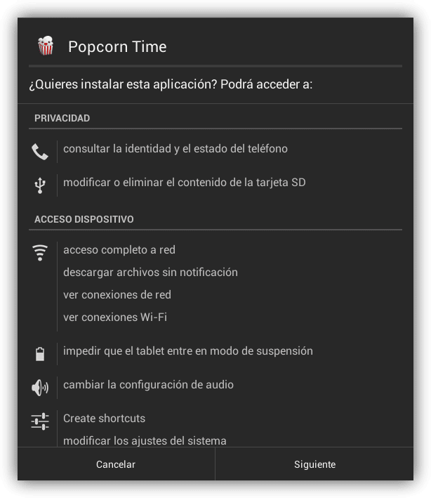 Popcorn Time ver series peliculas streaming tablet foto 1