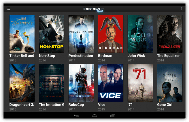 Popcorn Time ver series peliculas streaming tablet foto 2
