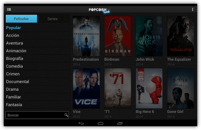 Popcorn Time ver series peliculas streaming tablet foto 3