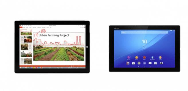 Surface 3 vs  Xperia Z4 Tablet