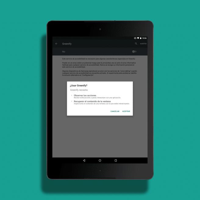 Greenify permiso accesos Android