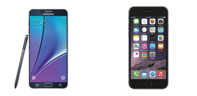 Samsung Galaxy Note 5 Apple iPhone 6 Plus