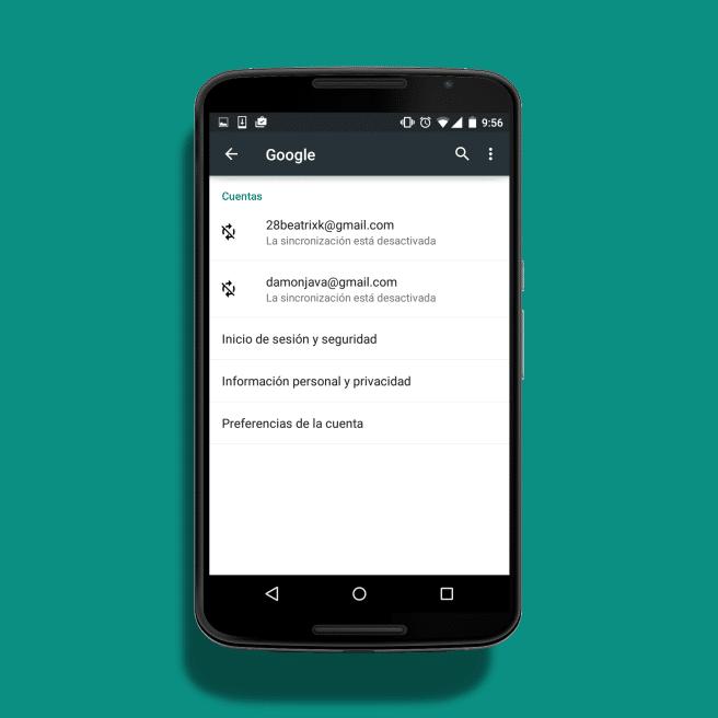 Nexus 6 cuentas de Google Sincronizacion