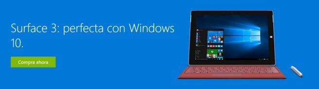 Surface 3 con Windows 10