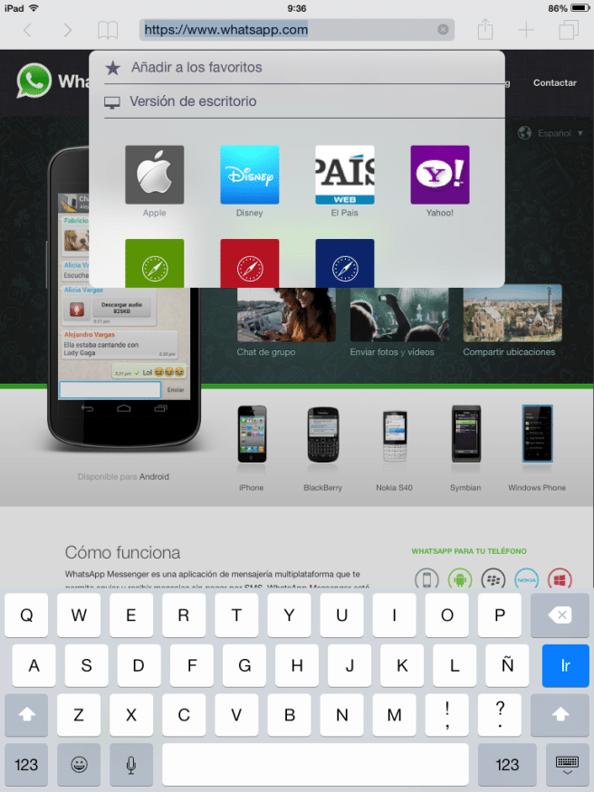 WhatsApp Web iPad cambiar a escritorio