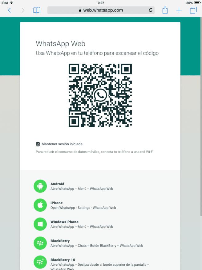WhatsApp Web escanear el codigo