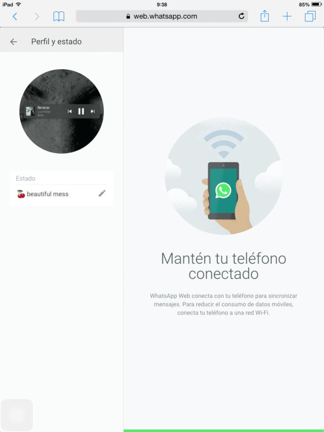 WhatsApp Web iPad conectado