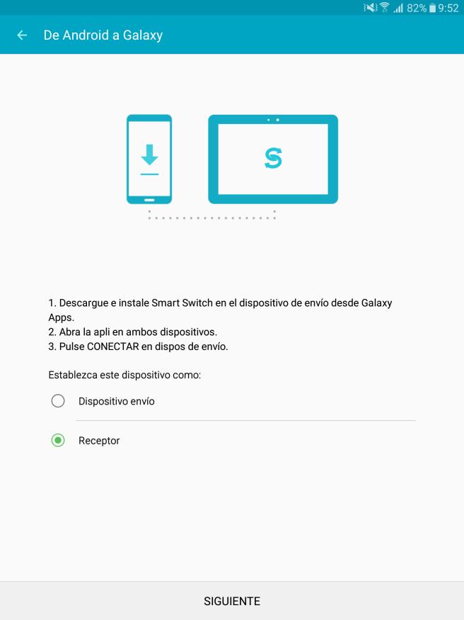 Galaxy Tab S2 dispositivo receptor